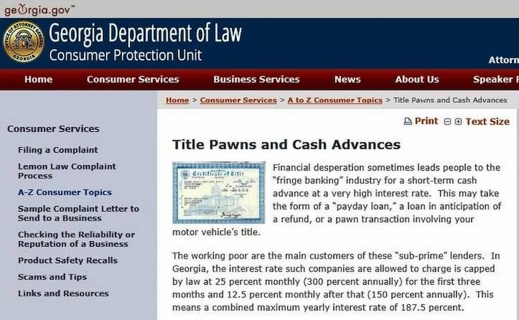 Georgia Department of Law - Title Pawns