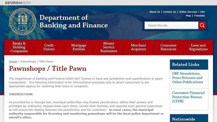 Pawnshops on Georgia Department of Banking and Finance's Website